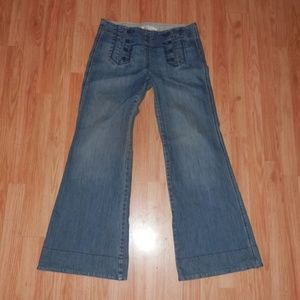Flare Medium Wash Sailor Button Front Jeans Sz 8